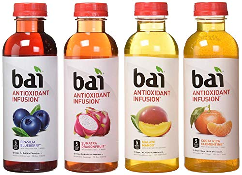 bai Flavored Water, Rainforest Variety Pack, Antioxidant Infused Drinks, 18 Fluid Ounce Bottles, 12 Count, 3 Each of Brasilia Blueberry, Costa Rica Clementine, Malawi Mango, (2 Pack(12 Count))