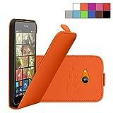 COOVY Étui pour Nokia Lumia 630/635 Slim Flip Coque Housse Étui de Protection Fin à clapet avec écran de Protection | Couleur Orange