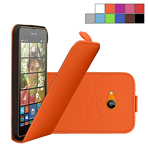 COOVY® Cover für Nokia Lumia 630/635 Slim Flip Hülle Tasche Etui inklusive gratis Bildschirmschutzfolie   Farbe orange
