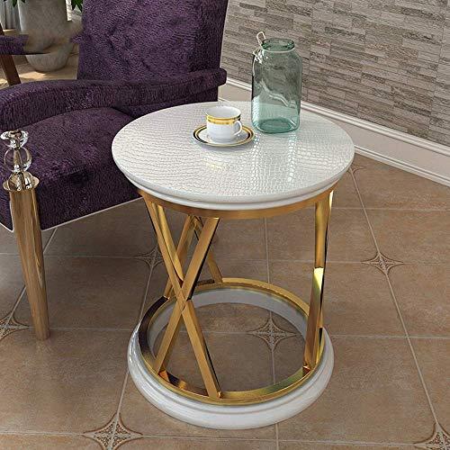 N/Z Wohngeräte Beistelltisch Edelstahl Runder Tisch Wohnzimmer Sofa Seitenschrank/Balkon Kleiner Couchtisch Werkbank (Farbe: Goldweiß)