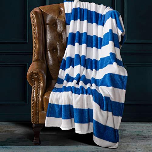 NTBAY Flanell-Überwurf, Decke, superweich, mit blau und weiß gestreiften bedruckten Bettdecke, 130 x 172 cm