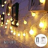 SUNNOW LED Guirnalda de Luces - 6M 60LED Guirnaldas Luces,8Mods,IP65Impermeable Iluminación Navidad para Interior/Exterior,Bolas Decorativas Luces para Fiesta y Decoración del Jardín (blanco cálido)