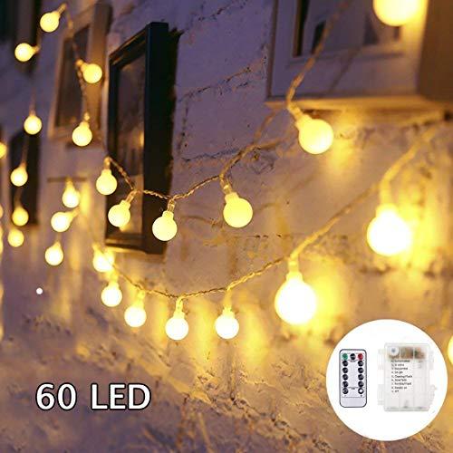 SUNNOW Catena Luminosa - 6m StringaLuciLED,IP65 Impermeabile 60LED LuciNatale,8 Modalità GhirlandaLuminosa,Decorazioni Natalizie per Casa, IlluminazioneGiardino/Interni/Esterno