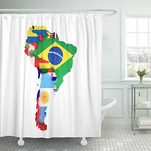 JOOCAR Cortina de ducha de diseño, colorido mapa de América Latina del Sur con países y ciudades capitales bandera americana, tela impermeable para decoración de baño con ganchos