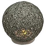 Lámpara de mesa - Lámpara Deco de ratán con base de hormigón - Lámpara de cabecera con funcionamiento a pilas para la mesilla y la cómoda - Lámpara de mesa como decoración./gris