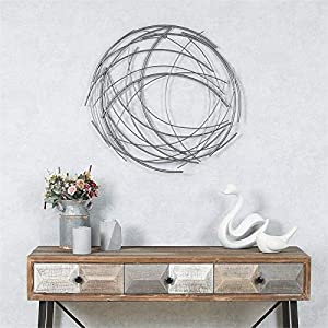 Pemberly Row Abstract Iron Sticks Round Wall Art in Silver