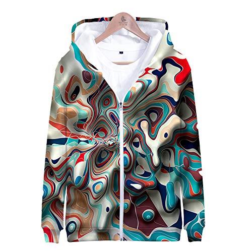 TANGNIU Color Graffiti Hoodie 3D Gedruckt Langarm Reißverschluss Pullover Bunte Muster Tasche Pullover Persönlichkeit Lässig Männer Und Frauen Paar Sweatshirt-E/L