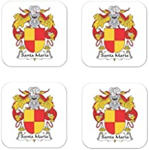 Santa Maria Family Crest Square Coasters Coat of Arms Coasters - Set of 4