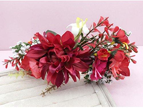 &Kroon bloem hoofdtooi Bloem Krans, Hoofdband Bloem Garland Handgemaakte Bruiloft Bruid Partij Lint Hoofdband Polsband Haarband Blauw/Rood/Wit Bloemenkrans kroon (Kleur: Rood)