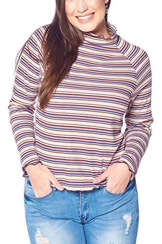 Women's Junior Plus Size Turtle Neck Striped Top with Lettuce Edge Off White 3X