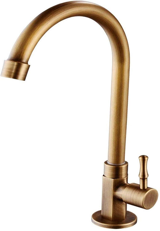 Kitchen Sink Taps Bathroom Taps Single Lever Cold Water Basin Mixer Nostalgia 360 ° Swiveling Tap Retro Washbasin Taps Bathroom Tap