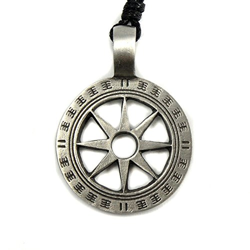Mystical & Magical Octogram - Wheel of Life - Buddhist - Eight-Pointed Star Pewter Pendant