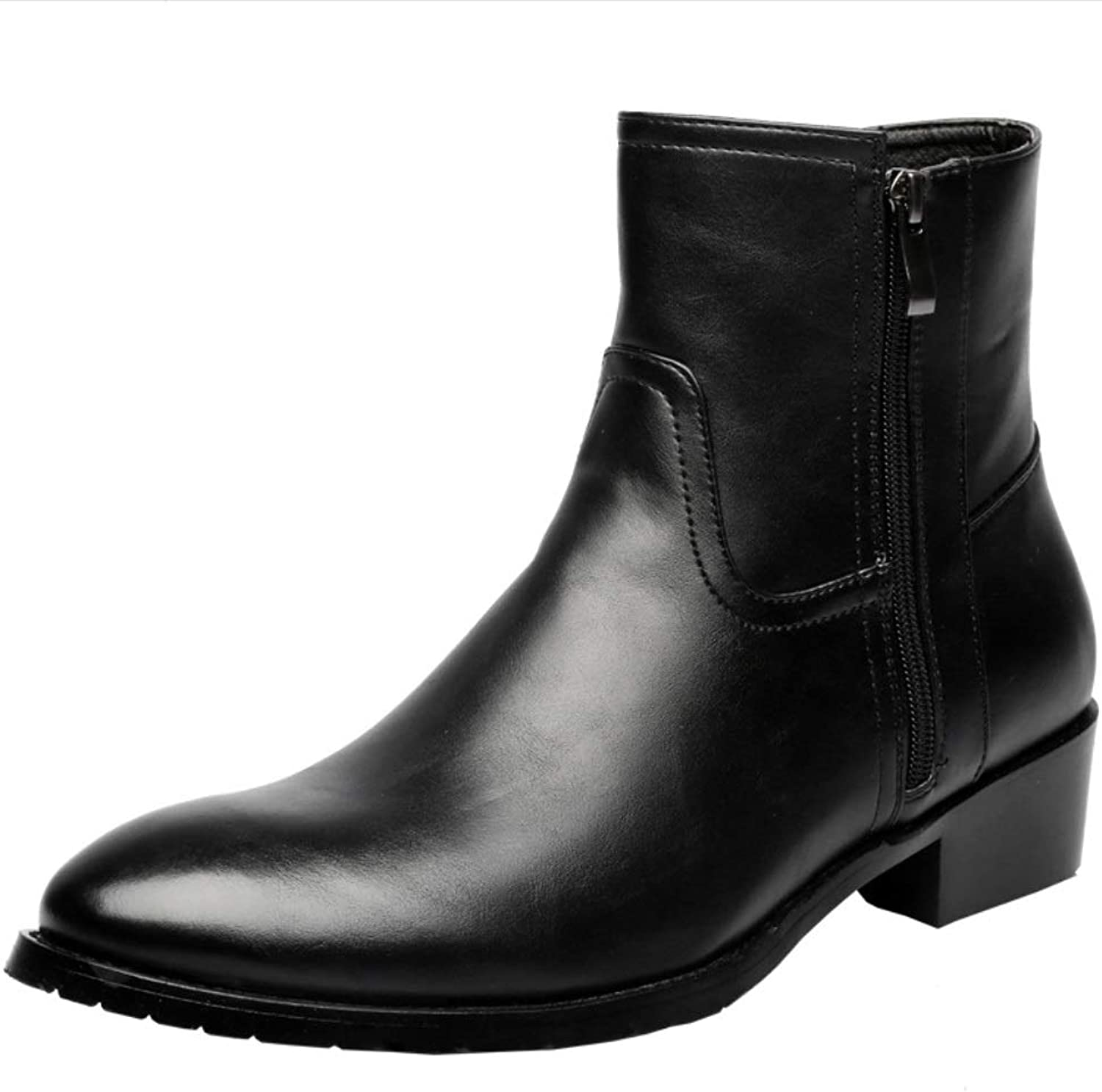 SHANGWU Men's Leather Boots Autumn And Winter Men's Boots England High shoes Martin Boots Men's Leather Boots Pointed Boots