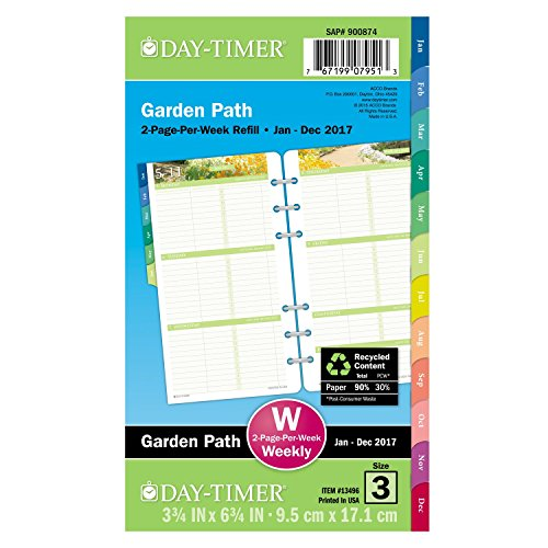 """Day-Timer Weekly Planner Refill 2017, Two Page Per Week, Loose Leaf, 3-3/4 x 6-3/4"""", Portable Size, Garden Path (13496)"""