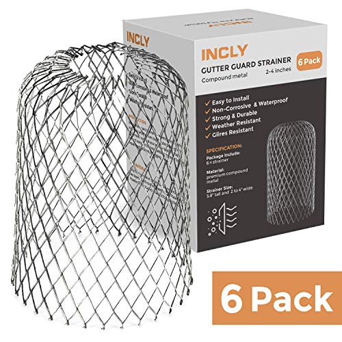 Incly 6 Pack Gutter Guard Strainer 3 Inch Downspouts Filter Screen Keeps Unclogging