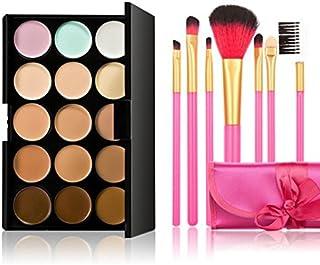 PIXNOR Colors Contour Face Makeup Concealer Palette + Pcs Makeup Brush As Shown