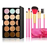 LEORX Face Contour Kit marcador corrector crema maquillaje Kit 15 paleta con 7pcs cepillo