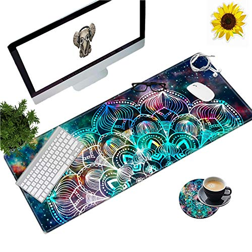 Large Gaming Mouse Pad with Stitched Edges, Desk Pad Protector, Computer Keyboard Mouse Mat Non-Slip Cute Desk Decor for Home/Office/Study Accessories+ Coaster and Stickers, Mandala Art