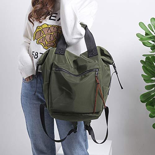 Moda Femenina Mochila de Nylon Resistente al Agua Bolsa de Gran Capacidad de Viaje de Color de Equipo Mochila Mochila Muchacha Adolescente sólido Ocasional (Color : Green)