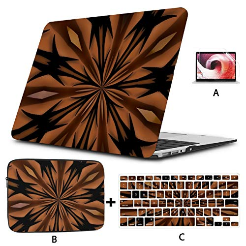 Mac 15 Inch Case Star Abstract Structure Black Mac Book Pro Accessories Hard Shell Mac Air 11'/13' Pro 13'/15'/16' with Notebook Sleeve Bag for MacBook 2008-2020 Version