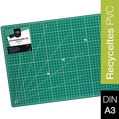 OfficeTree Schneidematte A3 - grün - Schneideunterlage 3-lagig recycelbar - Cutting Mat mit beidseitigen Rastern und Markierungen für professionelle Schnitte - selbstheilende Schneidunterlage