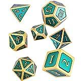 Schleuder Dados de rol de Dungeons and Dragons, Poliedricos DND 7 Piezas Dice Set Metal D&D Juego de rol para Mazmorras y MTG, RPG Dice Gaming (Gold & Light Blue)