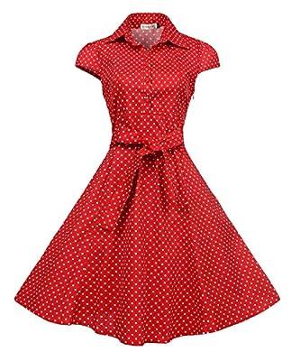 BI.TENCON 1950's Cotton Vintage Retro Yellow Polka Dot Flared Tea Dress Plus Size XL