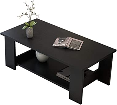 Modern Minimalist Double Coffee Table Coffee Table, Sturdy Easy to Assemble, Used in Living Room Heavy Wood, Black 120 * 60cm