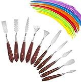 10 Pcs Palette Knife Set for Acrylic Wooden Handle Painting Pallet Knife Set Art Tools for Oil Paint Canvas