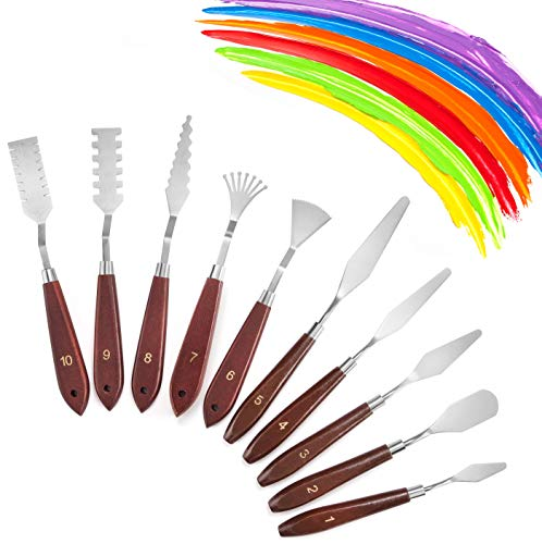 10 Pcs Palette Knife Set for Acrylic Wooden Handle Painting