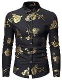 HOP Mens Luxury Gold Rose Print Shirt Long Sleeve Slim Fit Button Down Dress Shirts for Party/Wedding/Shows, Hopm334-black, X-Large