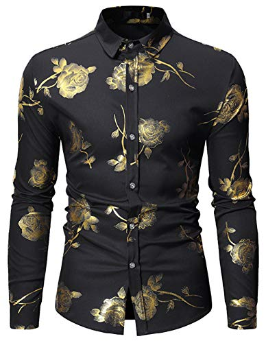 HOP Mens Luxury Gold Rose Print Shirt Long Sleeve Slim Fit Button Down Dress Shirts for Party/Wedding/Shows, Hopm334-black, Small