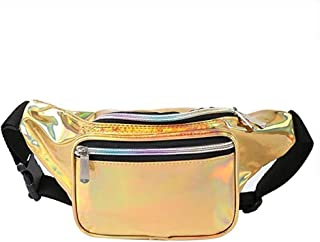 Holographic Fanny Pack for Women & Men – Neon Rave Waist Fanny Pack with Adjustable Belt for Festival, Travel, Party