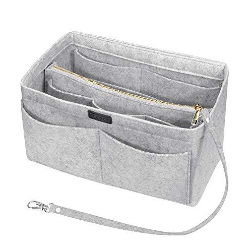 Ropch Taschenorganizer für Handtaschen, Filz Handtasche Organizer Taschen Organisator Kosmetikorganizer mit Reißverschluss-Tasche für Frauen, Hellgrau - M