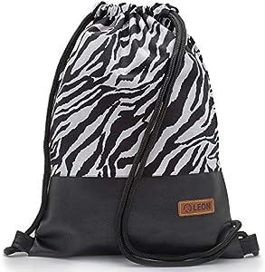 By Bers LEON - Bolsa de deporte con bolsillos interiores con cremallera, mochila para hombre y mujer, Zebra_sw_PU (Negro) - TB_001