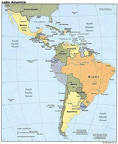 Home Comforts Map Central America Countries in Latin Cuba Coast Rica Unusual Domincan Rebuplic product image