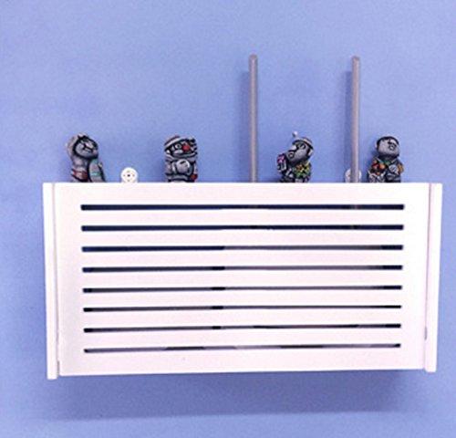 Revesun Süßer, kleiner WiFi-Router, geeignet als Ablage, Regal zur Aufbewahrung oder Dekorations-Box, mit Wandhalterung, holz, Big Stripe WIFI Router Shelf/TV Set-Top Boxes