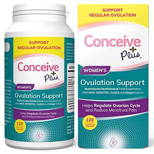 CONCEIVE PLUS Myo-Inositol & D-Chiro Inositol | 30-dagars leverans | Folsyra | PCOS | Hormonbalans och äggstockstillskott för kvinnor tillskott (120 kepsar)