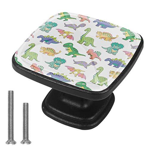 Pomos de gabinete de un solo agujero – tiradores de cajones para gabinetes de cocina modernos de gabinete de 4 unidades de dinosaurios de bebé blanco verde