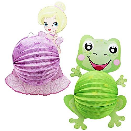 com-four® 2X Laterne mit Buntem Prinzessin und Frosch Motiv - Papierlaterne für Sankt Martin und Halloween - Martinslaterne für Kinder