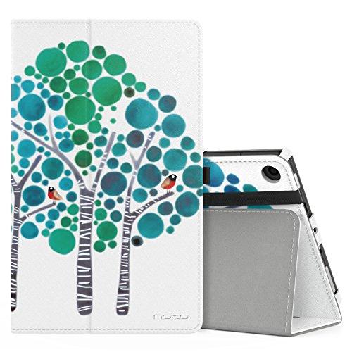MoKo Hülle für All-New Amazon Fire HD 8 Tablet (7th und 8th Generation – 2017 und 2018 Modell) - Kunstleder Ständer Schutzhülle Smart Cover mit Stift-Schleife, Wald Blau