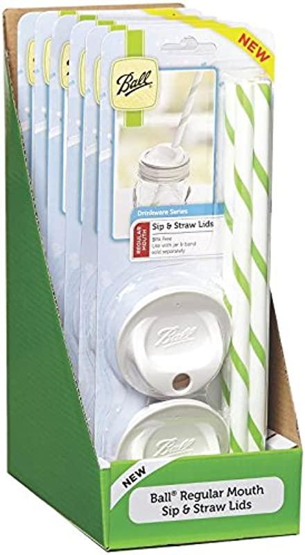 Ball Regular Mouth Mason Sip And Straw Lids Set Of 4 6 Pack