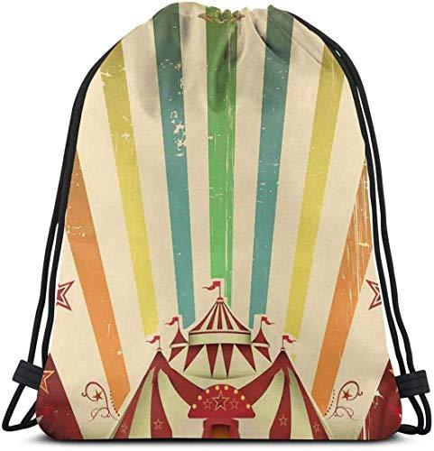 Rucksack mit Kordelzug Unisex-Tasche Für das Reisen im Fitnessstudio, The Old Circus Carnival-Werbethema Stripes Stars and Fun Fair Tent