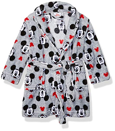 Disney Boys' Toddler Mouse Luxe Plush Robe, Little Mickey, 4T