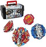 3T6B Peonzas Juguetes Conjunto con Estuche Portátil, 4 PCS Burst Spinning Tops 4D Set con Lanzador Regalo Mejor para Niños