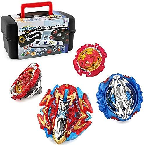 3T6B 4 Kampfkreisel Set, Spinning Tops mit 2 Burst Launcher, Burst Turbo Kampfkreisel Gyro Pocket Box Pro Batting Tops Stadion Gutes Geschenk für Jungen Party Kinder und Erwachsene