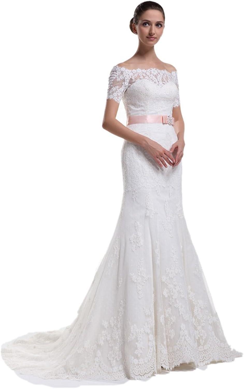 Dearta Women's Sheath OffTheShoulder Court Train Lace Wedding Dresses