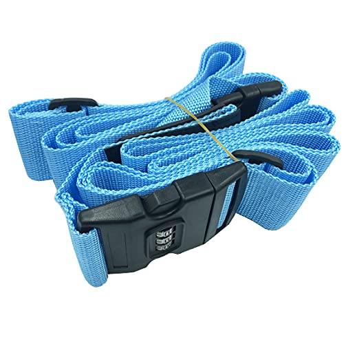 Correa de equipaje ajustable para maleta de viaje, correa de equipaje con bloqueo codificado, ajuste para 20-32'' (azul)