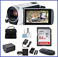Canon VIXIA HF R800 Full HD Camcorder [White] Bundle, Includes: 64GB SDXC Memory Card, AC/DC Travel Charger, Spare Battery and More.