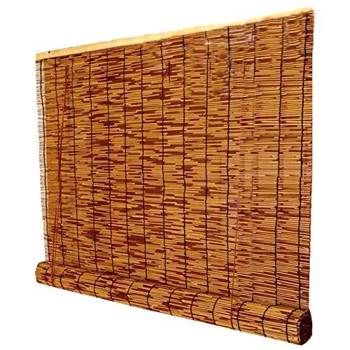 kufu01 Estores de Bambú para Decoración de Paredes de Techo,Persiana Veneciana de Caña de Filtración de Luz de Cortina de Partición de Hotel,Cortina Opacas de Paja de Balcón (160x200cm/63x79in)